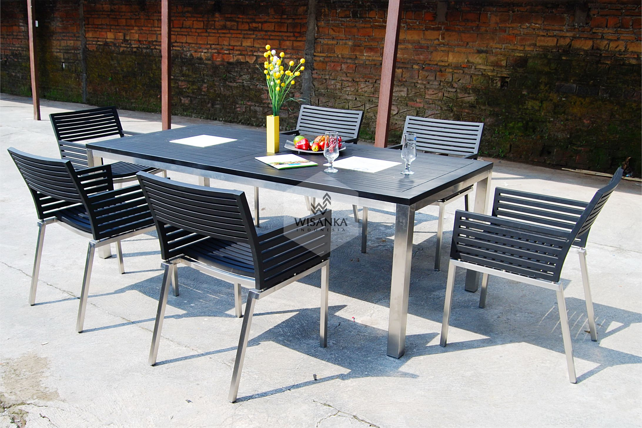 Stainless Steel Terrano Black Dining Set Wisanka Modern Outdoor Furniture